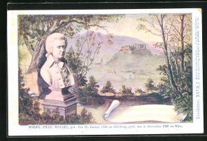 Künstler-AK Philipp + Kramer Nr. XXVII /2: Büste Wolfgang Amadeus Mozart, Blick in die Landschaft