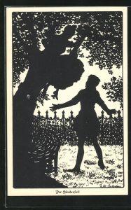 Künstler-AK Ov. Alt-Stutterheim: Mann breitet die Arme aus und will die Frau im Baum auffangen, Scherenschnitt