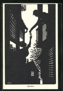 Künstler-AK Ov. Alt-Stutterheim: Mann übergibt der Frau einen Brief zwischen zwei Häusern