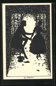 Künstler-AK Ov. Alt-Stutterheim: Mann gesteht der jungen Frau seine Liebe, Das Geständnis, Scherenschnitt