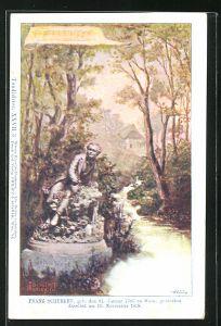 Künstler-AK Philipp + Kramer Nr. XXVII /3: Tondichter, Franz Schubert sitzt an einem Bächlein