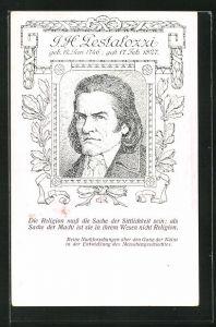 Künstler-AK Portrait des Schweizer Pädagogen Pestalozzi