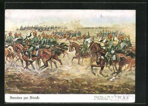 Künstler-AK Döbrich-Steglitz: Anreiten zur Attacke, Jäger-Regiment z. Pf. 11 und Ulanen-Regiment 2 VI. A.k.