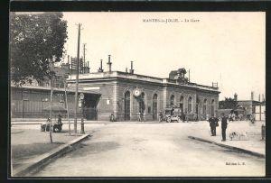AK Mantes-la-Jolie, La Gare, Blick zum Bahnhof