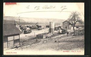 AK Dormans, La Gare C. B. R., Ansicht vom Bahnhof
