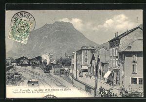 AK Grenoble, La Gare et la Casque de Néron, Blick zum Bahnhof