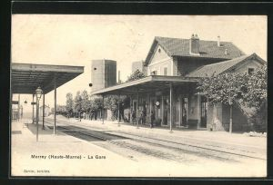 AK Merrey, La Gare, Motiv vom Bahnhof