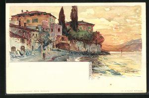 Künstler-Lithographie Manuel Wielandt: Varenna, Motiv am Ufer