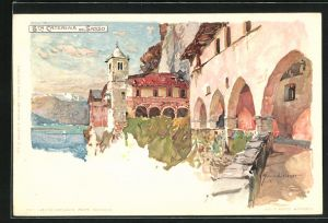 Künstler-Lithographie Manuel Wielandt: Santa Catarina del Sasso, Detail aus dem Ort