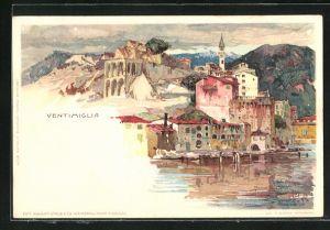 Künstler-Lithographie Manuel Wielandt: Ventimiglia, Blick zum Ort