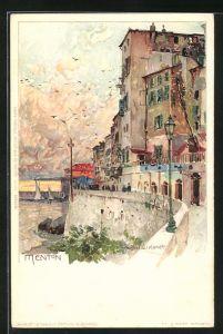 Künstler-Lithographie Manuel Wielandt: Menton, Häuser am Ufer