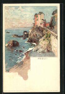 Künstler-Lithographie Manuel Wielandt: Pegli, Häuser an der Küste