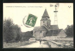 AK Bessais-le-Fromental, Le Moulin a vent et l`Eglise