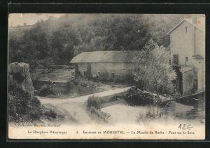 AK Morestel, Le Moulin de Roche, Pont sur la Save