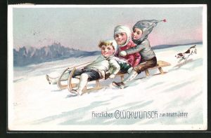AK Glückwunsch zum neuen Jahre, Kinder auf Schlitten