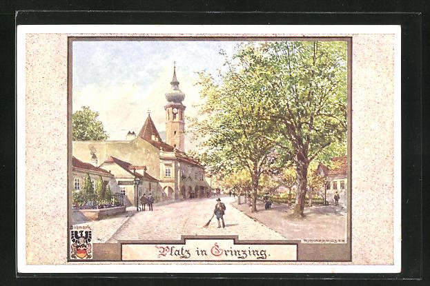 Künstler-AK Richard Moser: Grinzing, Platz mit Kirchturm