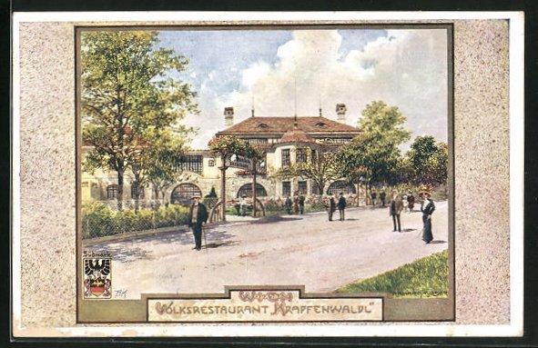 Künstler-AK Richard Moser: Wien, Motiv vom Volksrestaurant Krapfenwaldl