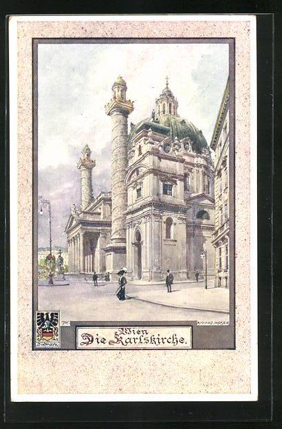 Künstler-AK Richard Moser: Wien, Karlskirche
