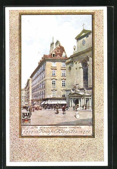 Künstler-AK Richard Moser: In diesem Haus wohnte Josef Haydn 1750-1755