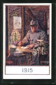 Künstler-AK Franz Kuderna: 1915, Soldat im Unterstand schreibt Weihnachtsgrüsse