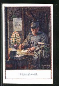 Künstler-AK Franz Kuderna: Weihachten 1915, Soldat im Unterstand