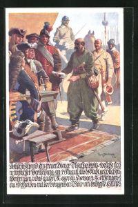 Künstler-AK Richard Assmann: Herzog von Lothringen erricht ein Schreiben um Hilfe während der türk. Belagerung von Wien