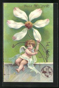 AK Neujahrsengel sitzt mit grosser Blüte auf einer Mauer, Prosit Neujahr