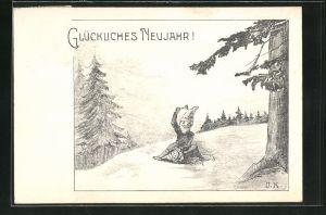 AK Zwerg sitzt am Waldrand und schlägt auf ein Hufeisen, Glückliches Neujahr