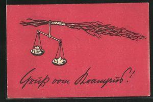 AK Waage mit Geldsack und Herz hängt an einer Rute, Gruss vom Krampus!