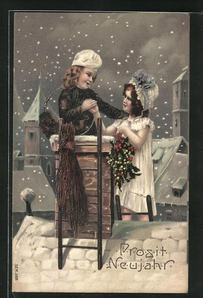 Präge-AK Junger Schornsteinfeger wünscht dem Mädchen auf dem verschneiten Dach alles Gute zum neuen Jahr
