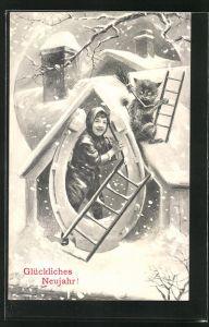 AK Junger Schornsteinfeger hält ein grosses Hufeisen und erklimmt das verschneite Dach, Glückliches Neujahr