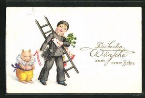 AK Schornsteinfeger bringt Brief und hält ein Glücksschwein an der Leine, Beste Wünsche zum neuen Jahre