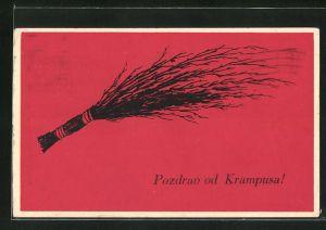 AK Rute vor rotem Hintergrund, Gruss vom Krampus