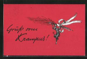AK Krampus hängt an einer Rute
