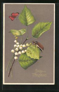 Präge-AK Maikäfer auf Maiglöckchen mit Schmetterling, Pfingstgruss