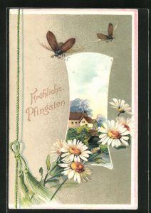 Präge-AK Ortspartie mit Passepartoutrahmen Maikäfer und Blume, Pfingstgruss