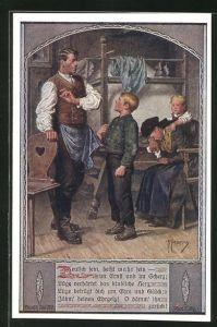 Künstler-AK Franz Kuderna: Deutscher Schulverein Nr. 802: Familie mit zwei Kindern in der Stube
