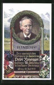 Künstler-AK Richard Assmann: Portrait Peter Rosegger, 1843-1913