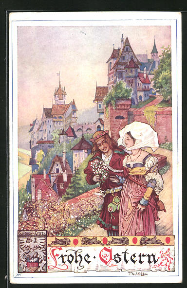 Künstler-AK T. Welzl: Ostergruss, Junges Paar am Stadtrand flanierend
