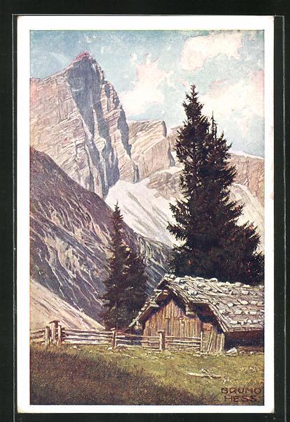 Künstler-AK Bruno Hess: Berghütte an der Dachsteinsüdwand
