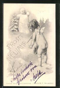 Künstler-AK Theo Zasche: Kleiner Engel schriebt einen Neujahrsgruss in den Schnee