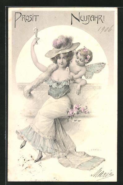 Künstler-AK R. Kratky: Frau stösst mit Engel auf das neue Jahr an