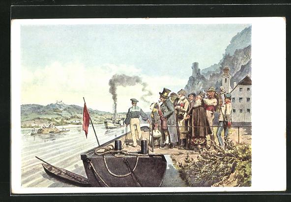 Künstler-AK Alois Greil: Ankunft des Linzer Postdampfers