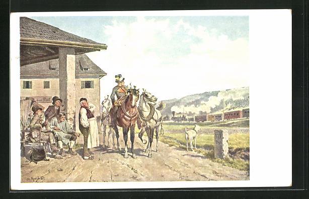 Künstler-AK Alois Greil: Postillon und Eisenbahn