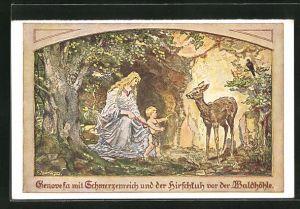 Künstler-AK sign. Fritz Janowski: Genovesa mit dem Schmerzenreich und der Hirschkuh v.d. Waldhöhle