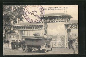 AK Lyon, Exposition Internationale 1914, Entrèe principale Avenue Leclerc
