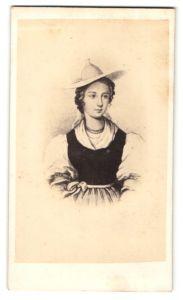 Fotografie Darstellung Schweizerin in Tracht mit Hut