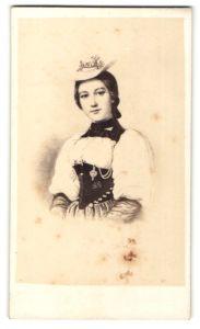 Fotografie Darstellung Schweizer Maid in Tracht mit Hut