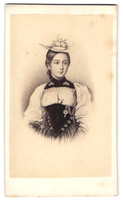 Fotografie Darstellung Schweizerin in Tracht mit Hut mit Blumen 0