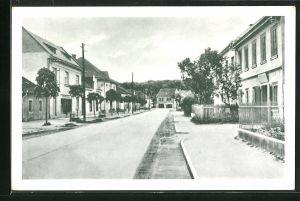 AK Weltrus / Veltrusy, Ortspartie mit Wohnhäusern und Geschäft